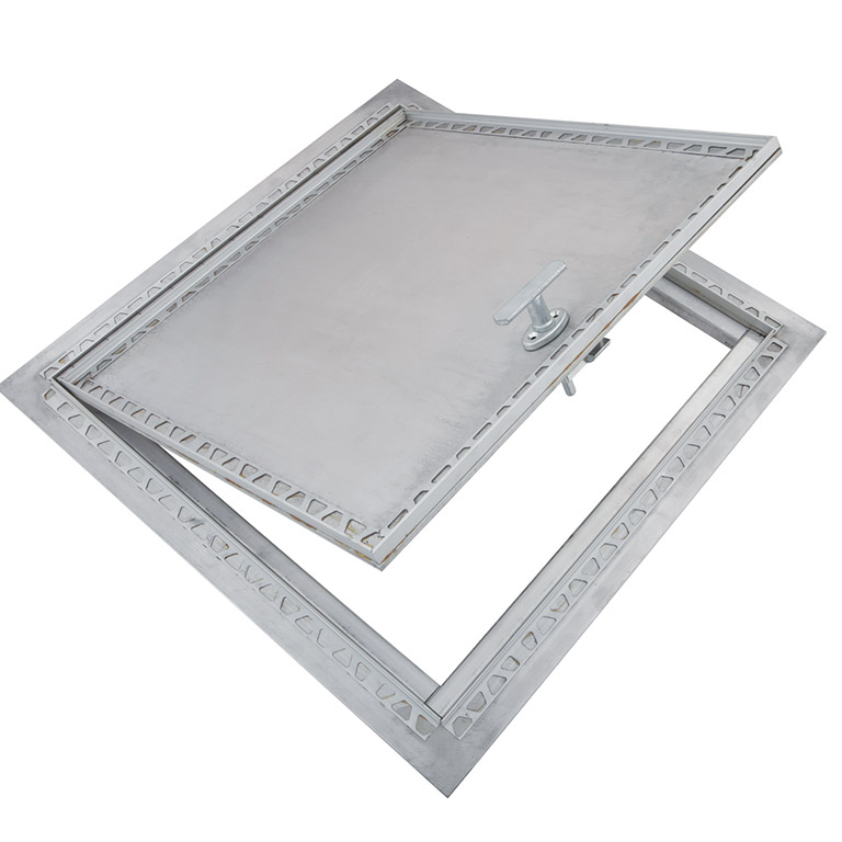 Recessed Aluminum Floor Hatch with Exposed Flange, removable handle, heavy duty aluminum piano hinge