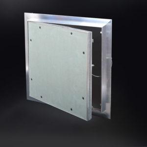 Panneau d'accès avec 5/8 po de retrait et avec cadre dissimulé, loquet à bouton-poussoir, charnière à pivot