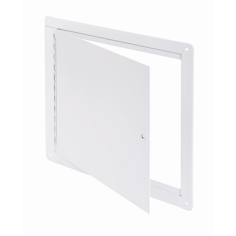Flush Universal Surface Mounted Access Door with Exposed Flange, screwdriver operated cam latch, piano hinge