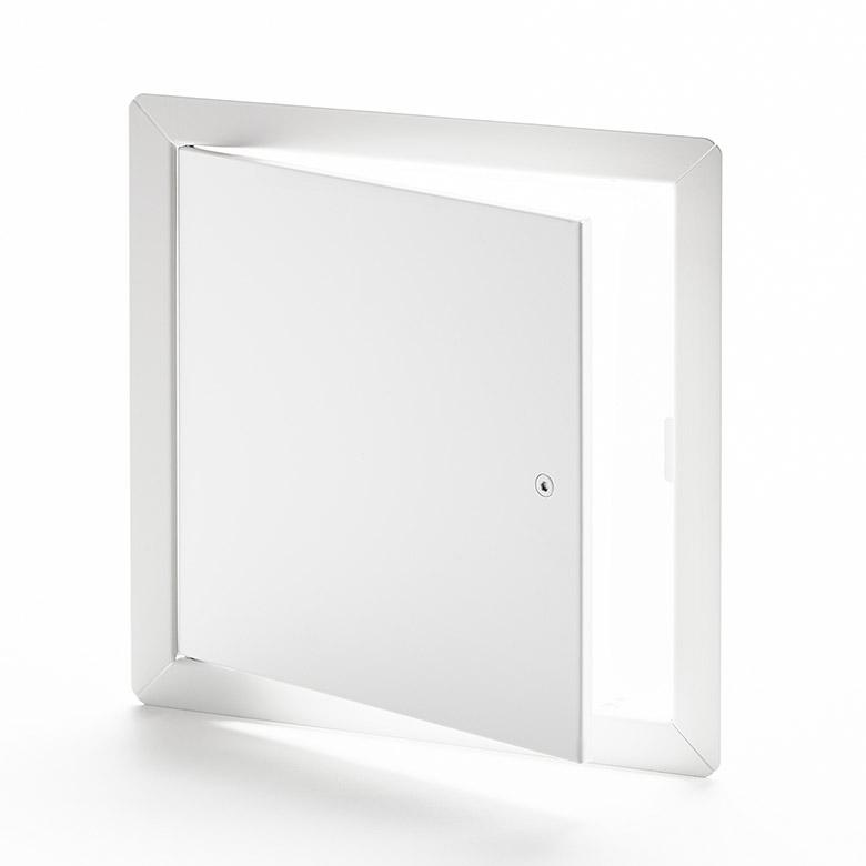 Panneau d'accès à usage universel avec cadre apparent, loquet à tête hexagonale, penture de type goupille