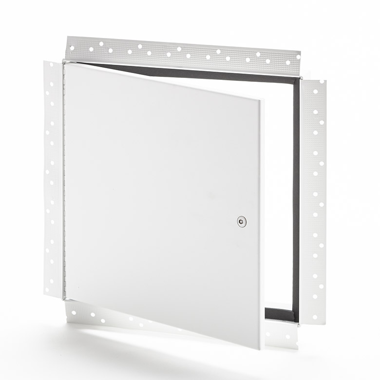 Panneau d'accès avec cadre perforé pour gypse, loquet antivandalisme à tête hexagonale, penture piano