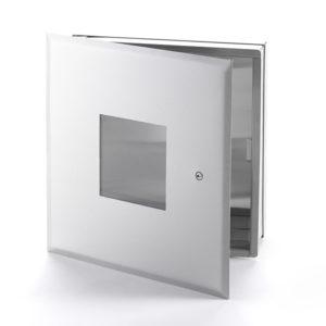 Cabinet multifonctionnel en acier inoxydable avec fenêtre en Plexiglas et cadre dissimulé, loquet à tournevis, charnière de type pantographe