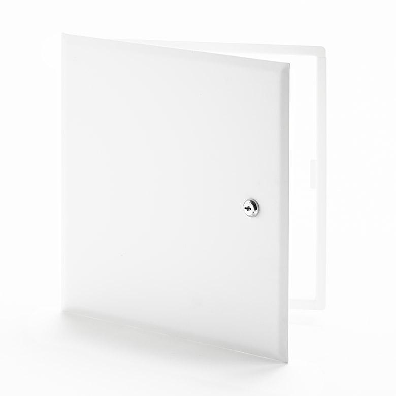 Panneau d'accès à usage universel avec cadre dissimulé, barillet à clé, charnière de type pantographe
