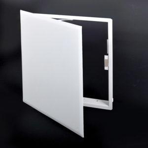 Panneau d'accès à usage universel avec fermeture magnétique, aimants dissimulés, charnière de type pantographe, câble de retenue