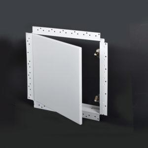 Panneau d'accès amovible avec cadre perforé pour gypse, loquet à bouton-poussoir dissimulé, goupille à ressort