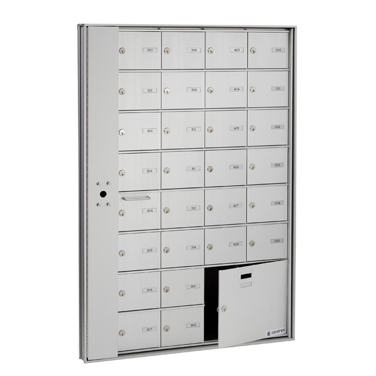HR-1000-LP-C- Boîte aux lettres horizontale, accès par avant, modèle encastré- panneau verrouillage, compartiment colis, intérieur immeuble, Postes Canada
