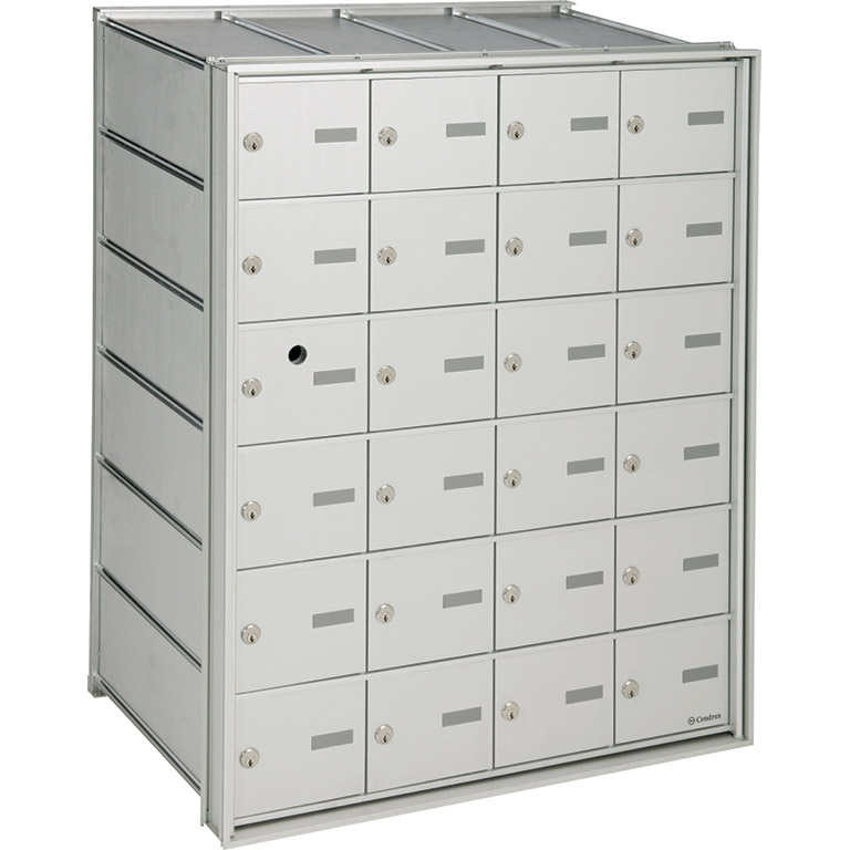 Rear-loading horizontal mailboxes, for internal mail, interior use only