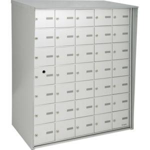 Boîtes aux lettres horizontales à accès par l'avant, rencontre ou dépasse les normes de Poste Canada, à installer à l'extérieur d'un immeuble