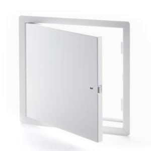 Panneau d'accès en acier satiné pour grandes ouvertures avec cadre apparent, enclenchement automatique avec clé-outil et serrure à anneau incluses, penture piano