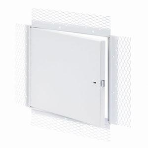 Panneau d'accès pour grandes ouvertures avec cadre treillis pour plâtre, enclenchement automatique avec clé-outil et serrure à anneau incluses, penture piano