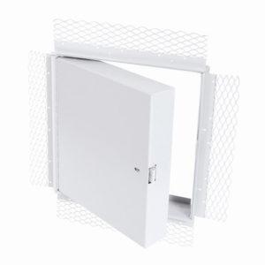 Panneau d'accès isolé, homologué contre le feu avec cadre treillis pour plâtre, enclenchement automatique avec clé-outil et serrure à anneau incluses, penture piano