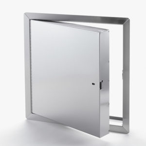 Panneau d'accès isolé, homologué contre le feu en acier inoxydable avec cadre apparent, enclenchement automatique avec clé-outil et serrure à anneau incluses, penture piano