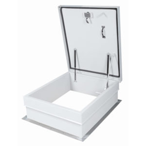 Roof hatch, exterior handle, heavy-duty pintle hinge
