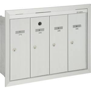 Front-loading vertical mailboxes, recessed model for interior use