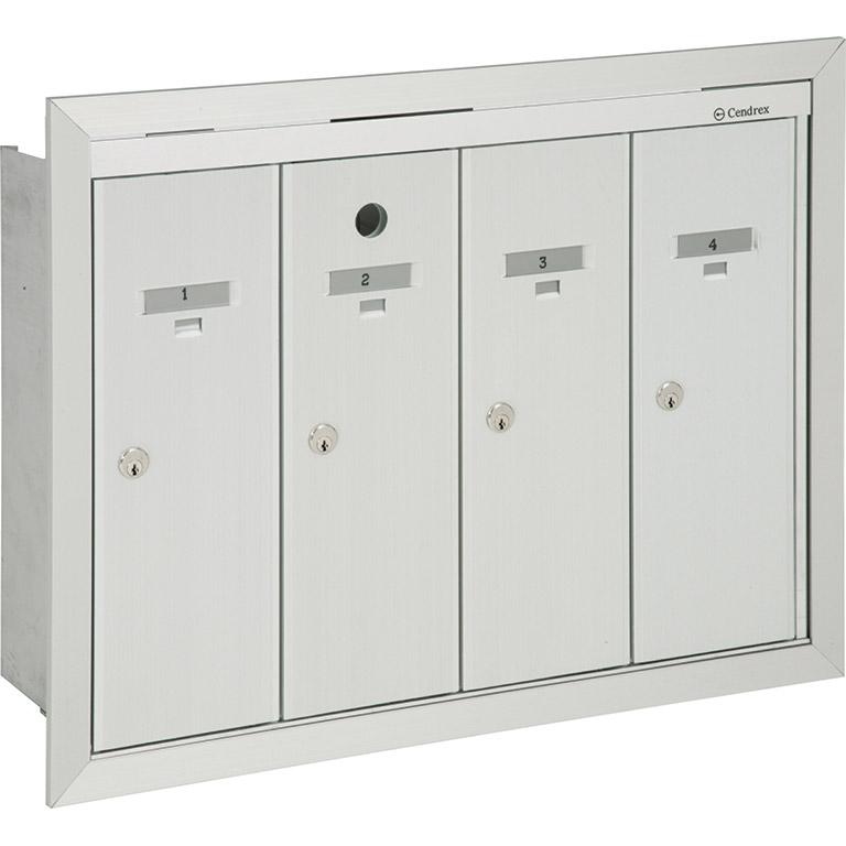 Boîtes aux lettres verticales à panneau frontal basculant, modèle encastré, à installer à l'intérieur d'un immeuble