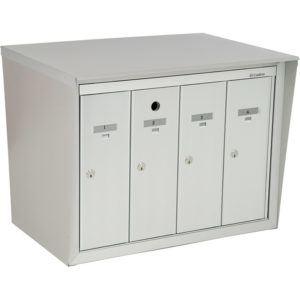 Front-loading vertical mailboxes, back-to-back model with pedestal, for exterior model