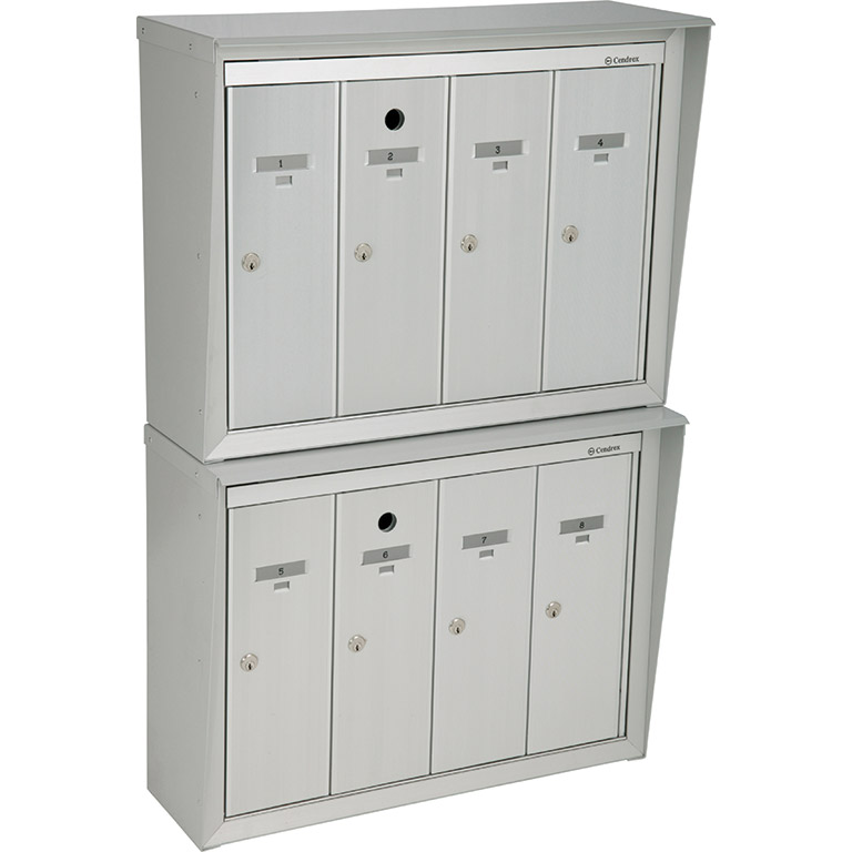 Front-loading vertical mailboxes, stacked model, for exterior use