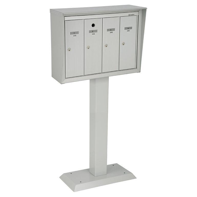 Front-loading vertical mailboxes, pedestal model for exterior use