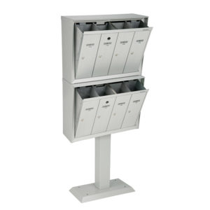 Front-loading vertical mailboxes, stacked model with pedestal, for exterior use