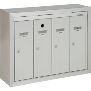 Front-loading vertical mailboxes, wall mounted model for interior use