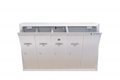 Semi-recessed front-loading vertical mailboxes